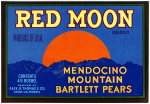 Red Moon Fruit Crate Label