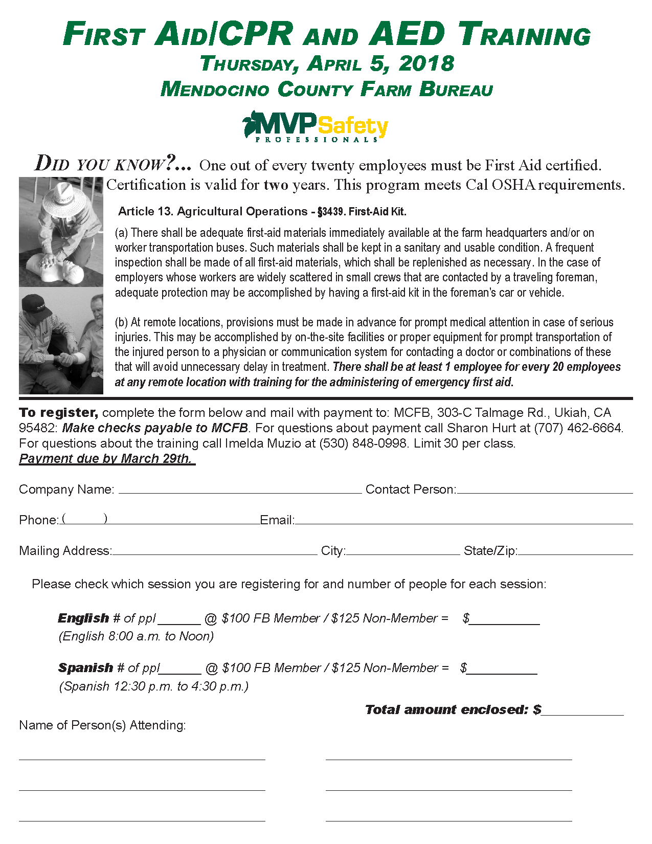 First aidcpr and aed training mendocino county farm bureau click here to view flyer 1betcityfo Images